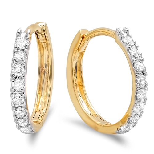 0.22 Carat (ctw) 14K Yellow Gold Real Round Cut White Diamond Ladies Huggies Hoop Earrings 1/4 CT by DazzlingRock Collection