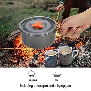Amazon.com: Filfeel - Juego de ollas de acampada, 8 piezas ...