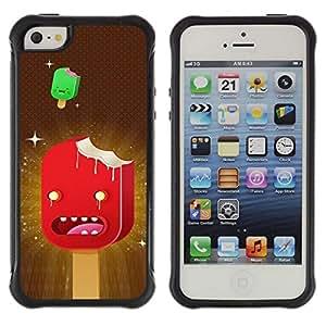 All-Round híbrido Heavy Duty de goma duro caso cubierta protectora Accesorio Generación-II BY RAYDREAMMM - Apple iPhone 5 / 5S - Ice Cream Art Cartoon Characters Red Stars