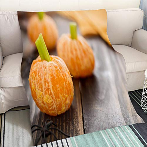 BEICICI Custom homelife Abstract Home Decor Printing Blanket Healthy Halloween Food Tangerine Pumpkins Snack Kids Sofa Bed or Bed 3D Printing Cool Quilt ()