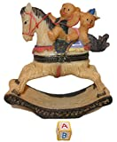 Silly Brown Teddy Bears Playing on Rocking Horse 2pc Resin Trinket Jewelry Box