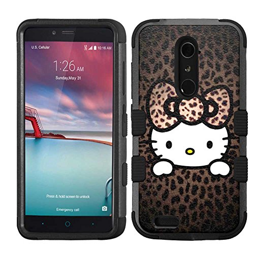 for ZTE Grand X Max 2/Imperial Max/Zmax Pro/Kirk (Z988), Hard+Rubber Dual Layer Hybrid Heavy-Duty Rugged Armor Cover Case - Hello Kitty #HP (Hello Kitty Phone Case For A Zte)