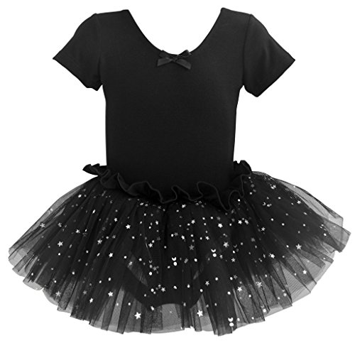 Dancina Leotard Sparkle Tutu Dress Short Sleeve Girls' Higher Neckline Cotton Twirl Skirt Costume 8 Black