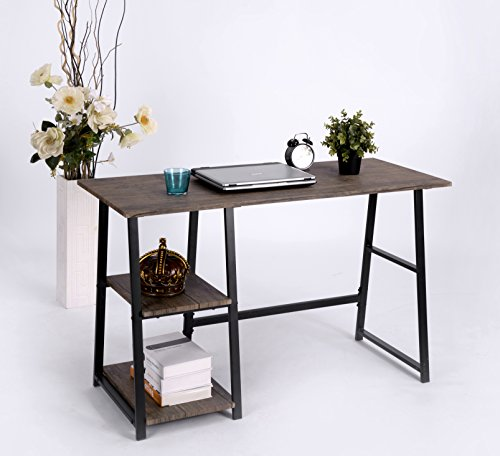 Vintage Brown Finish Computer Writing Study Trestle Desk Modern Vintage Home Office - Finish: Brown Materials: Wood Veneer, Metal, MDF Great storage space with Shelves and Large Table Top - writing-desks, living-room-furniture, living-room - 51kCnrdnr7L -