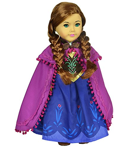 Ebuddy ® Anna Sparkle Princess Dress for 18″ American Girl Doll Clothes image
