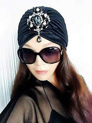 Best Choice And Best DiscountsBlack Gemstone Turbans,Womens Turbans,Full Turbans,Turban,Turban Hat,Stretch Turban,Fashion Turban,Head Wrap,Head ...