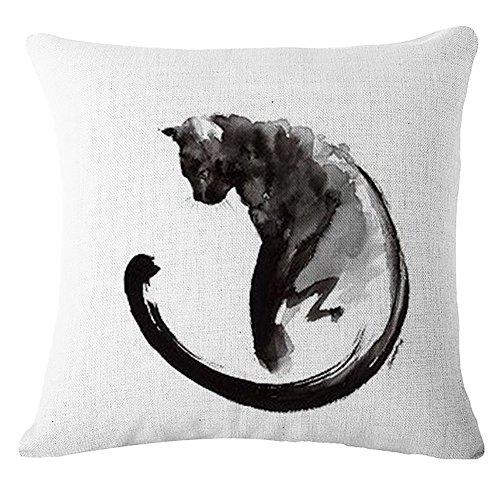 Lyn Cotton Linen Square Throw Pillow Case Decorative Cushion Cover Pillowcase for Sofa Cat 18