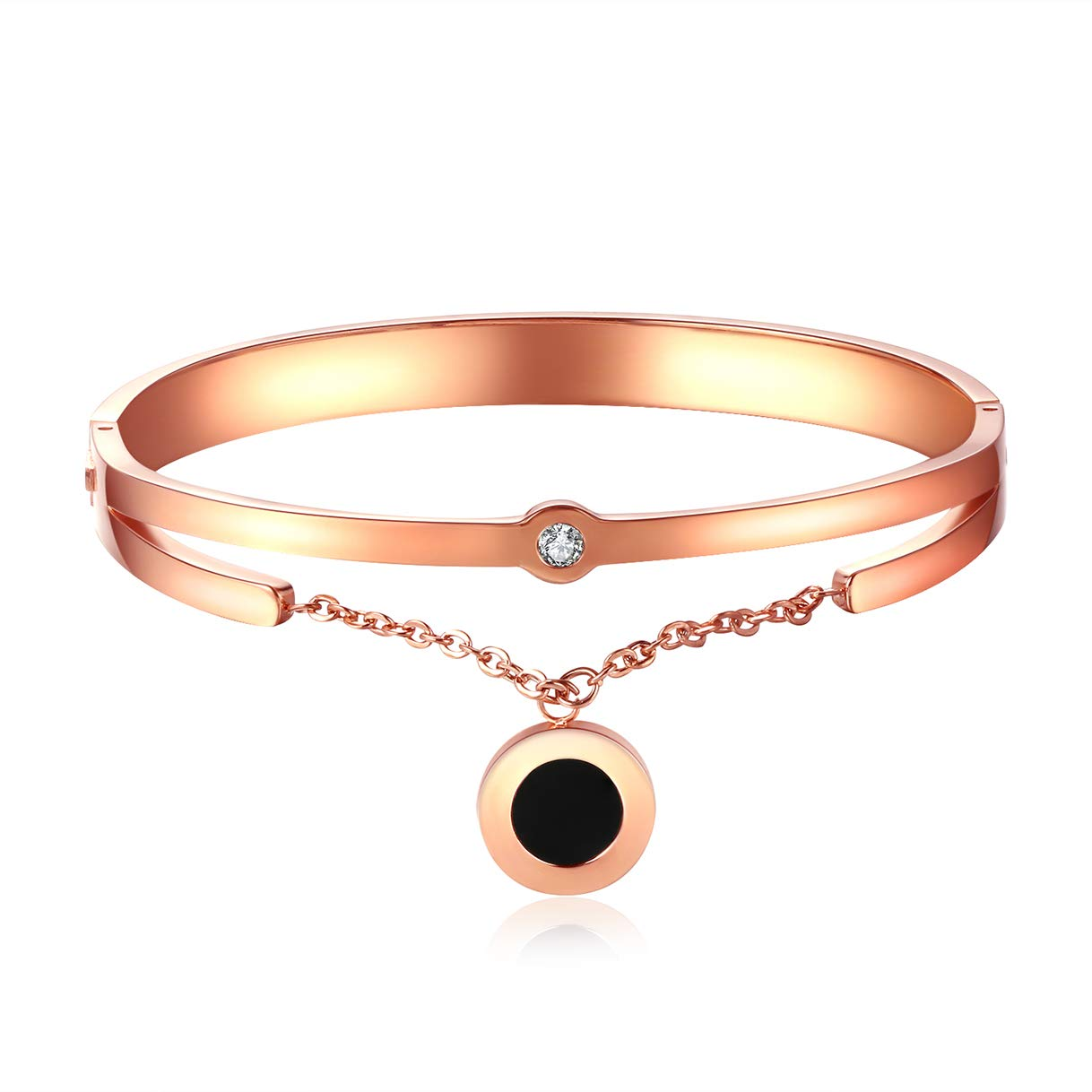 CHARMFAME Rose Gold Plated Stainless Steel Bangle with Black Circle Pendant Fashion Jewelry for Women /& Girls