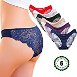 Kingfung 6 Pack Women's Invisible Seamless Bikini Underwear Half Back Coverage Panties (6Pack-C L)