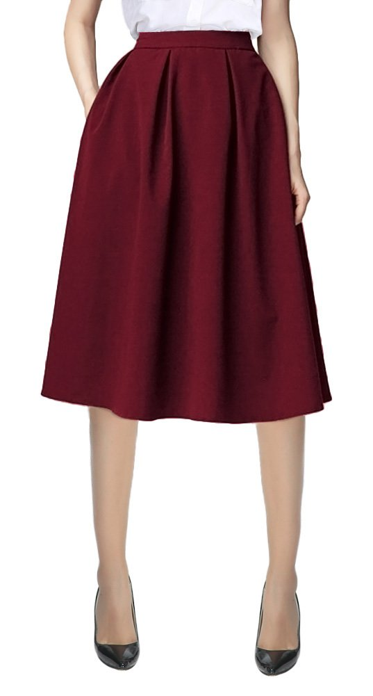 Women's Flared A line Pocket Skirt High Waist Pleated Midi Skirt (M, Wine red)