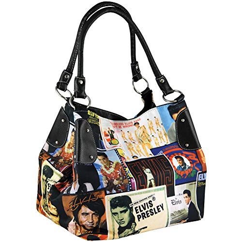Elvis Presley Lifetime Collage Tote Bag Microfiber w/Faux Leather Accents