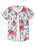 COOFANDY Mens Casual Floral Print Hip Hop Button Down Baseball Jersey Shirts, Pat3, Small