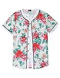 COOFANDY Mens Casual Floral Print Hip Hop Button Down Baseball Jersey Shirts, Pat3, Small
