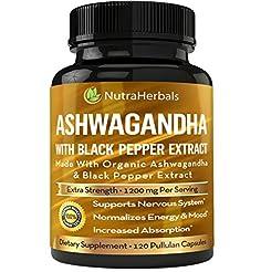 Organic Ashwagandha Root Powder 1200mg -...