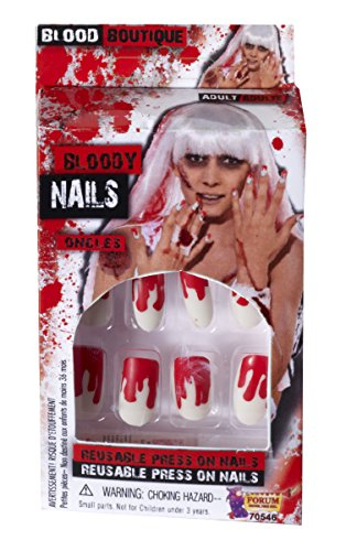 Woman Zombie Killer Costume (Forum Novelties Women's Novelty Bloody Nails, White/Red, One Size)