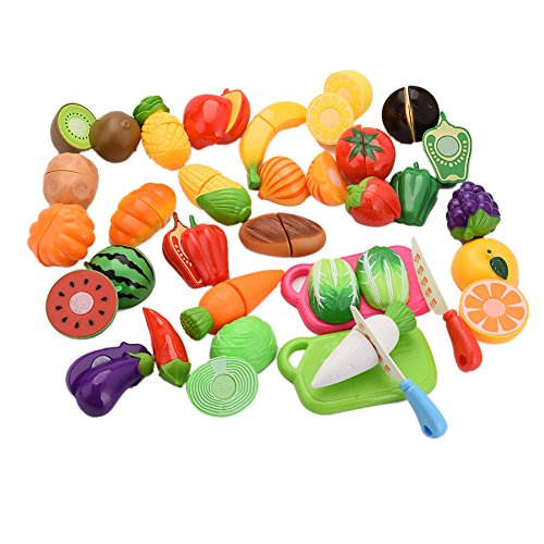 29pcs Kitchen Toys Fruit & Vegetable Cutting Toys Set with Cutting Board Best Gift for Baby Kids Children