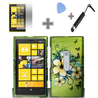 Rubberized-Green-Hawaiian-Flower-Snap-on-Design-Case-Hard-Case-Skin-Cover-Faceplate-with-Screen-Protector-Case-Opener-and-Stylus-Pen-for-Nokia-Lumia-920-ATT