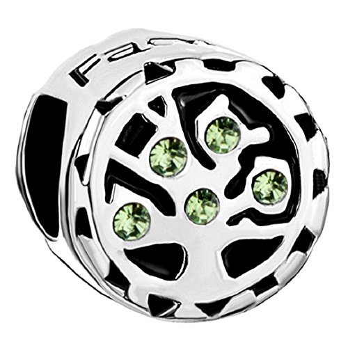 Family Tree Of Life Jan-Dec Birthstone 925 Sterling Silver Bead Fits European Charm (Peridot August Birthstone) (Flower Charm Peridot)