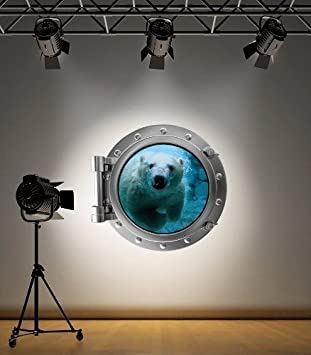 60 Second Makeover Limited Full Colour Polar Bear Porthole Ocean Wall Sticker Decal Kids Bedroom Decoration