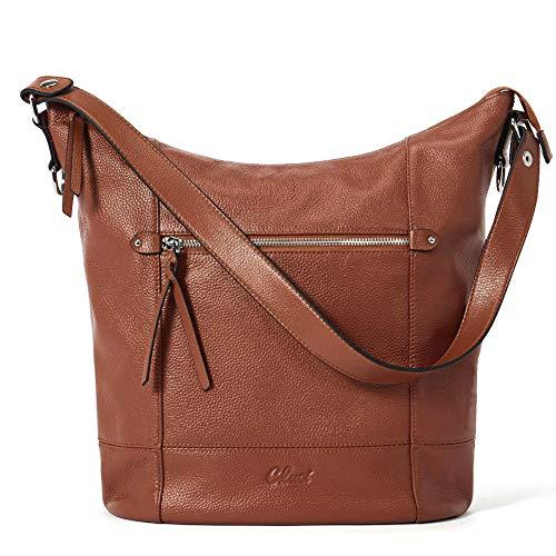 Handbags for Women Soft Genuine Leather Designer Bucket Tote Purses Ladies Shoulder Bag Brown