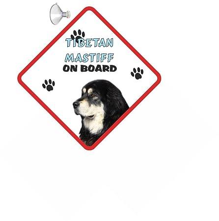 Mastín tibetano perro para el coche, cartel con ventosa de ...