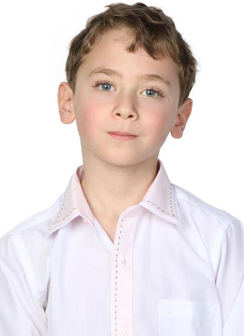 Camisa blanca Niño Cuello bicolor rosa y diseño blanco 12 ...
