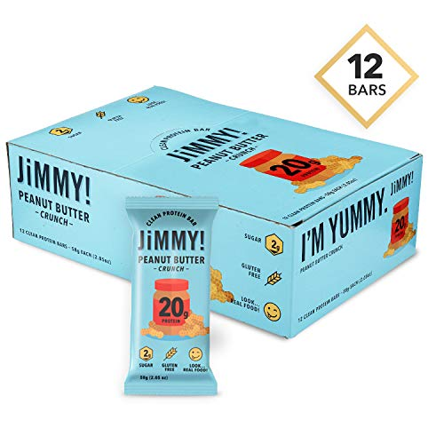 JiMMYBAR! Peanut Butter Crunch, Clean Protein Bars, High Protein, Low Sugar, Gluten Free, Energy Boost, 2.05 Ounces, 12 Count
