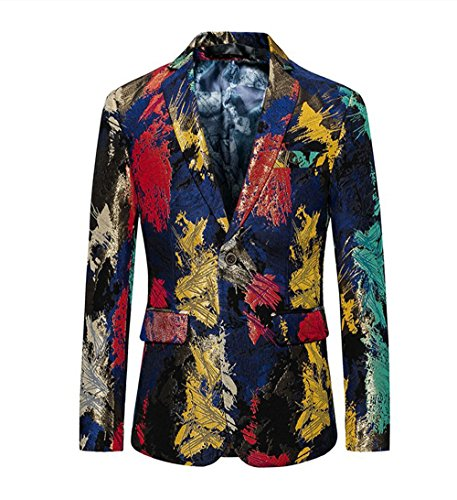 (WULFUL Men's Blazer Slim Fit Two Button Tuxedo Business Wedding Party Floral Suit Jacket)