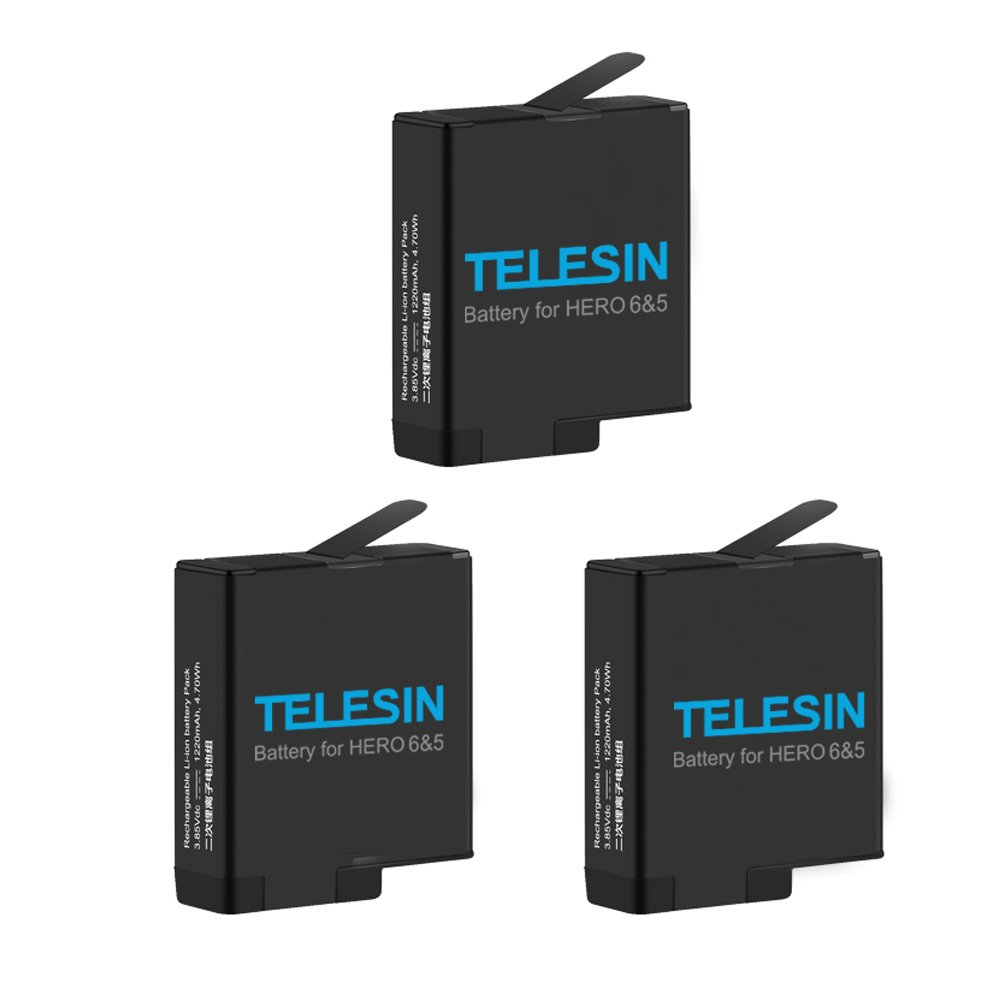 TELESIN 3-Pack Batteries and 3-Channels USB Charger with Type-C Cord for GoPro Hero 7 Black Hero (2018) Hero 6 Hero 5 Black, with GoPro Carry Case Small, Lens Cover Cap and Protector