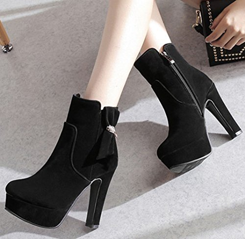 With High Bows Black Zipper Round Faux Womens Chunky Toe Side Boots Boots Suede Ankle Fashion IDIFU waZv7w