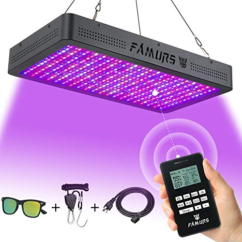 FAMURS 3000W LED Grow Light, Remote Control-Series Grow Lamp with Timer/Thermometer Humidity Monitor and Adjustable Rope,Full Spectrum Plant Light for Indoor Plants Seeding Veg and Flower