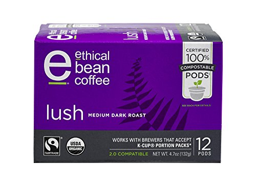 Lush Ethical Bean Coffee: 100% Compostable Single Serve K-Cups, Medium Dark Roast - USDA Certified Organic, Fair Trade Certified, Keurig Compatible - 12 Compostable Pods