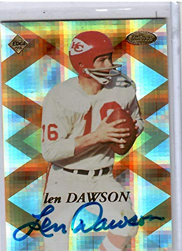 Autographed Card Collectors Edge (1998 Collector's Edge Super Masters Football Len Dawson Autographed Card # 218/2000)