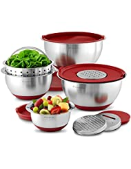 Wolfgang Puck Stainless Steel Mixing Bowls With Lids 12 Piece Set Red