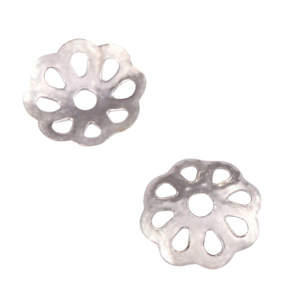 100Pcs Pretty Flower Filigree 10Mm Bead Caps Sterling Silver Plated Brass für Jewelry Craft Making Supplies Cf44-10