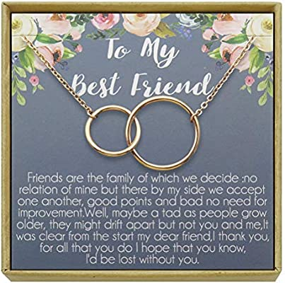 IDLAN Best Friend Necklace BFF Gift Long Distance Going Away ...