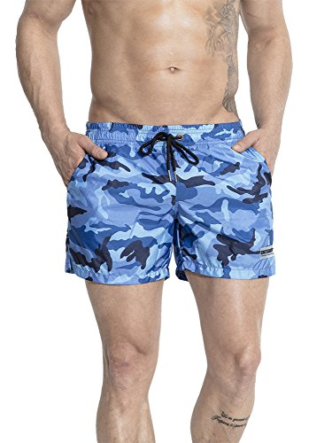 Neleus Men's Camo Swimming Trunks Running Beach Shorts with Pockets,716,Blue,L,Tag - Suit Bathing Triathlon