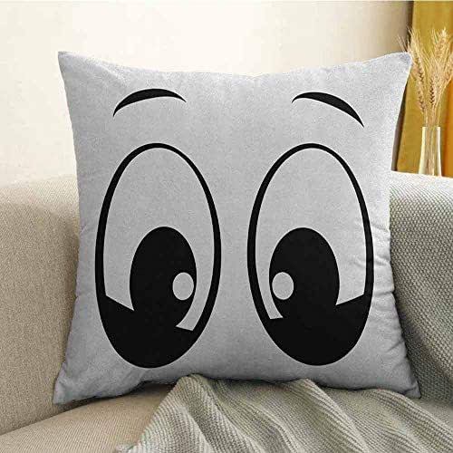 FreeKite Eye Pillowcase Hug Pillowcase Cushion Pillow Surprised Look a Cute Cartoon Character Amazed and Startled Childish Design for Kids Anti-Wrinkle Fading Anti-fouling W18 x L18 Inch Black White