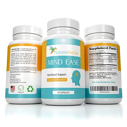 Migraine Relief Supplement - PA Free Butterbur Root, Riboflavin, Magnesium and Feverfew Capsules- Mind Ease's Unique Blend of Original Migraine Supplement Provides Prevention from Migraines ()