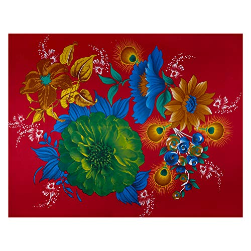 Sonna USA Supreme Fancy Flower African Wax Broadcloth 6 Yard Red Feather