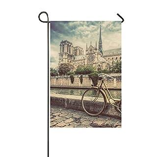 ADEDIY Fashion Custom Garden Flag Bike Next To Notre Dame Cathedral In  Paris Garden Flag 12x18