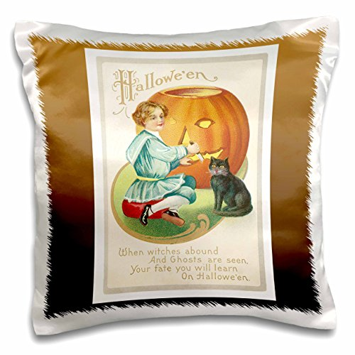 3dRose BLN Vintage Halloween - Vintage Halloween Little Boy Carving a Pumpkin with a Black Cat - 16x16 inch Pillow Case (pc_126072_1)