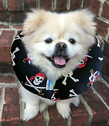 Made In USA Puppy Bumpers 100% Cotton Stuffed Safety Fence Collar to Keep your Pet Safe on the Right Side of the Fence- Jolly Roger - Fits Up to 10