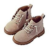 Toddler Little Boys Suede Martin Boots Lace-up Rubber Sole Short Chukka Ankle Snow Boot Beige Size 30
