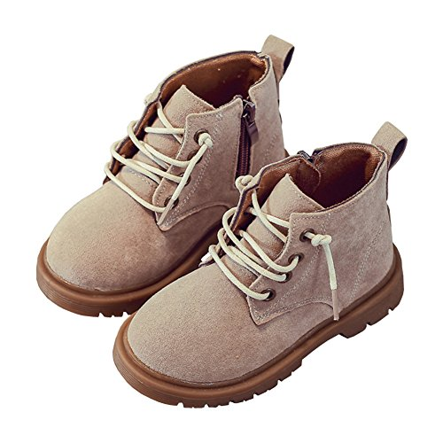 Toddler Little Boys Suede Martin Boots Lace-up Rubber Sole Short Chukka Ankle Snow Boot Beige Size 27 - Kid Suede Short Boots
