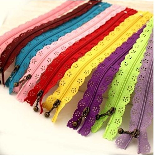 Famixyal Top Quality Novelty 25 Pcs 3# Length 24cm 9 inch DIY Nylon Coil Flower Zipper Lace Zippers for DIY Sewing Tailor Craft Bed Bag