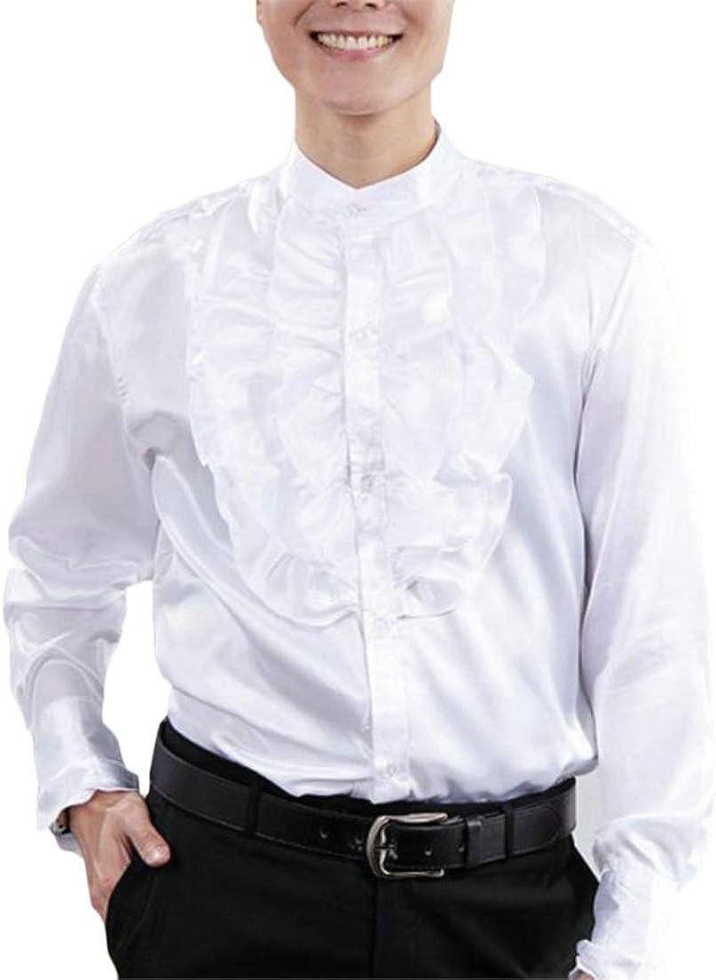 Wofupowga Mens Slim Long Sleeve Stand Collar Tops Ruffle Dress Button Front Shirts