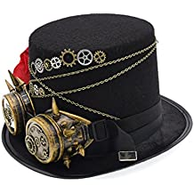 Vintage Steampunk Hat Victorian Gears Glasses Rose Decor Party Cosplay Top Hat