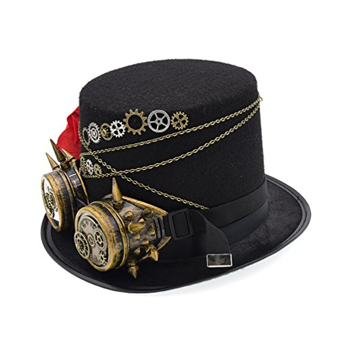 Vintage Steampunk Hat Victorian Gears Glasses Rose Decor Party Cosplay Top Hat,For Women,Perimeter (Cosplay Steampunk Costumes)
