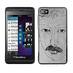 TopCaseStore / la caja del caucho duro de la cubierta de protección de la piel - Art Moustache Drawing - Blackberry Z10